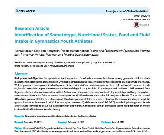 Publikasi Artikel Ilmiah di Asian Journal of Clinical Nutrition